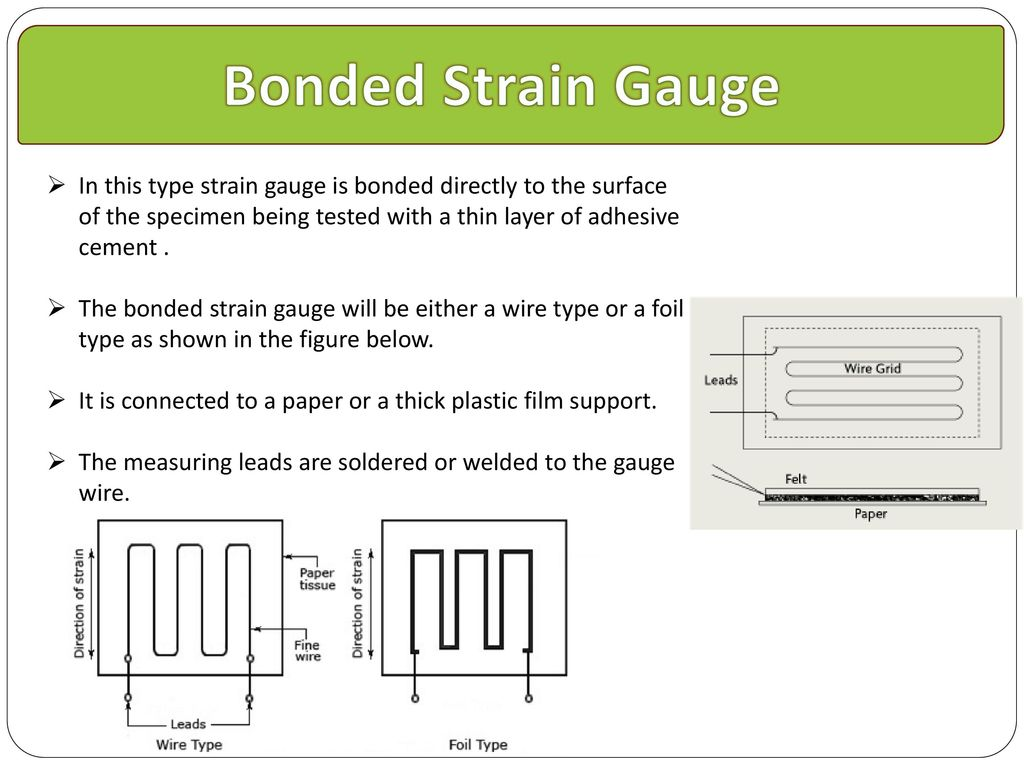Strain Gauge Ppt Download Gage Wiring Diagram Bonded In This Type Is Directly To The Surface Of