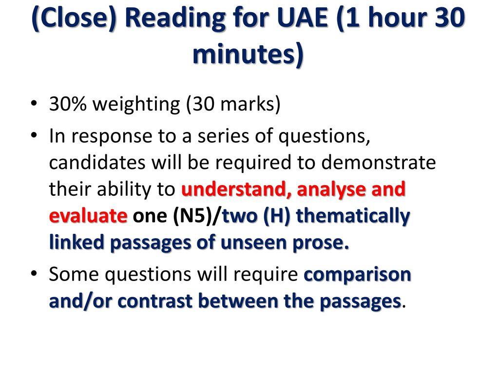 Higher/Nat 5 reading UAE - ppt download