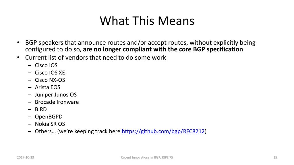 Recent BGP Innovations for Operational Challenges - ppt download