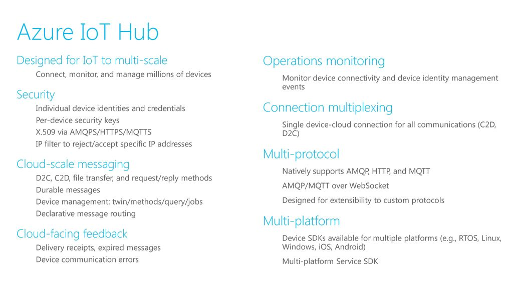 IoT Hub: Telemetry, command, and control & device management