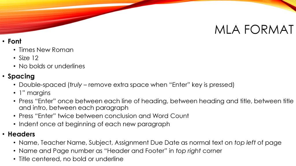 mla format font spacing headers times new roman size ppt download