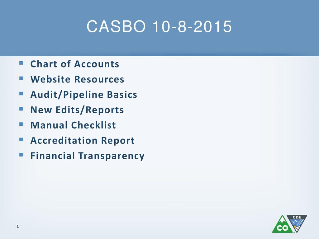CASBO Chart of Accounts Website Resources