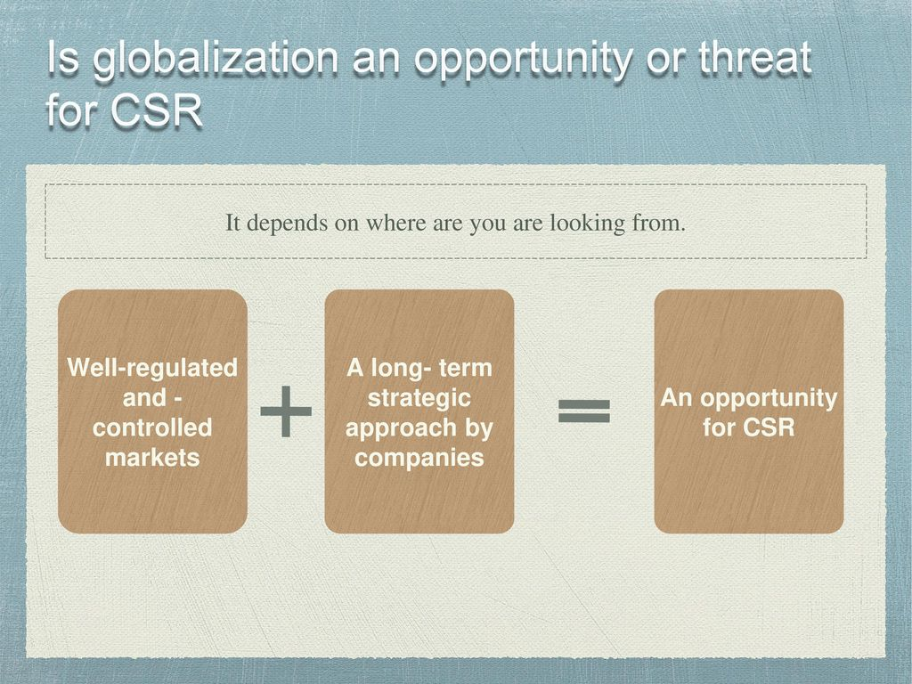is globalization threat for csr