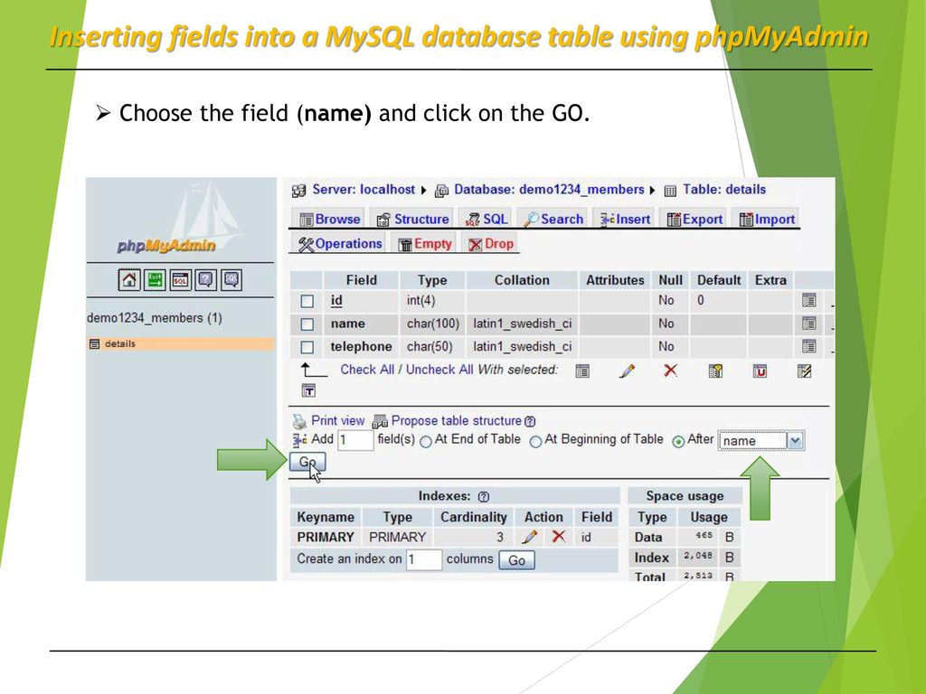 Database application MySQL Database and PhpMyAdmin - ppt download