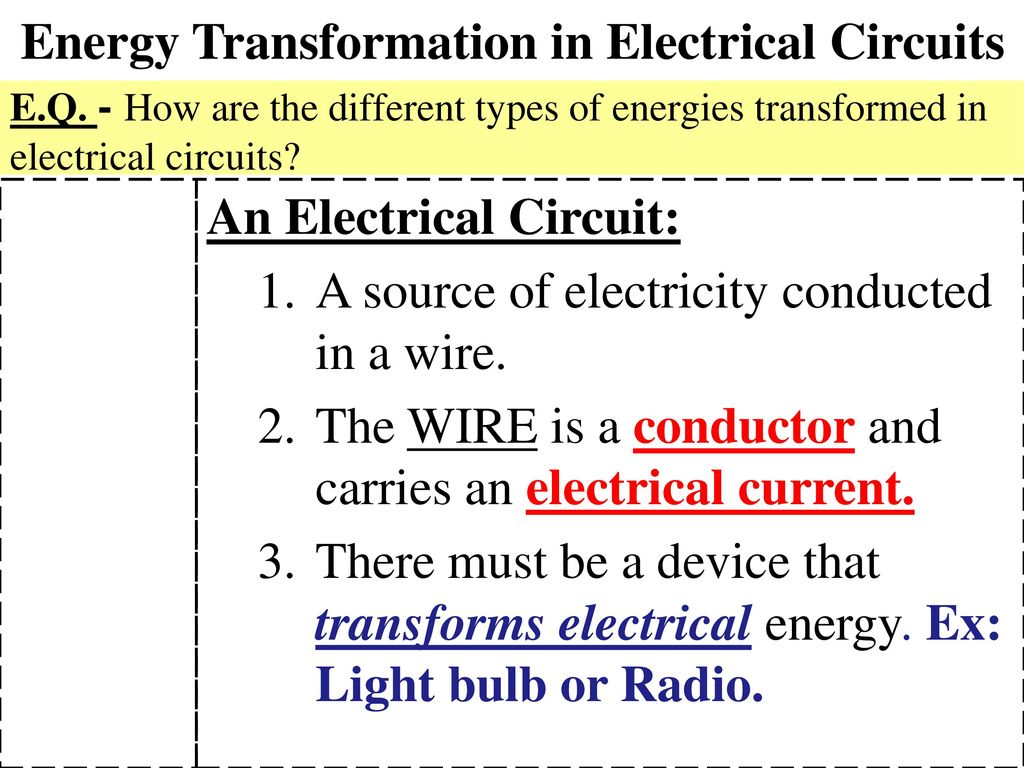 Energy Transformation In Electrical Circuits Ppt Download Different Types Of Electric