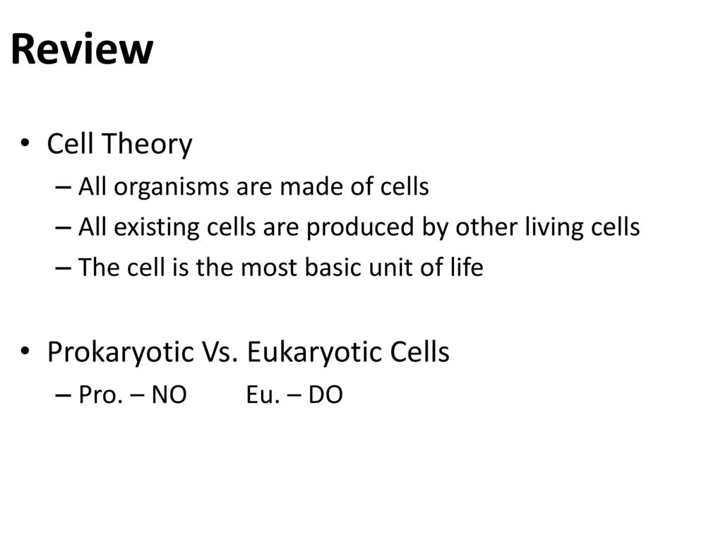 Review Cell Theory Prokaryotic Vs Eukaryotic Cells Ppt Download