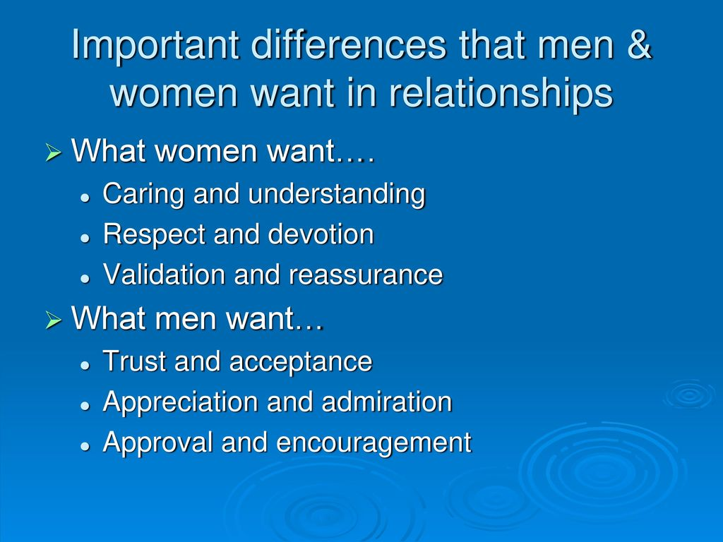 What do women want in a relationship