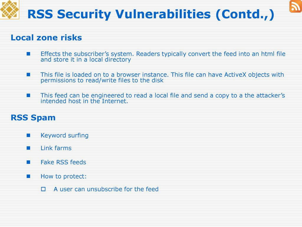 An analysis of RSS security - ppt download