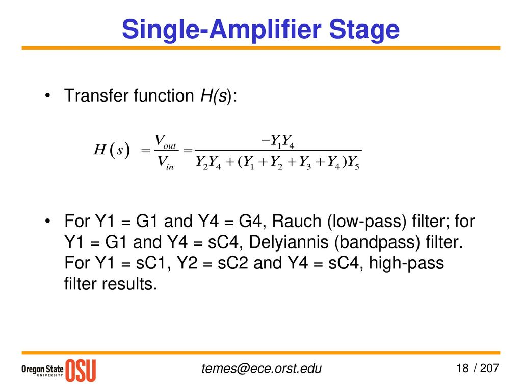Cmos Active Filters Gbor C Temes Ppt Download Single Op Amp Bandpass Filter 18 Amplifier Stage
