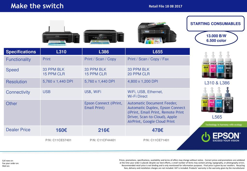 Make the switch 160€ 216€ 478€ Specifications L310 L386 L