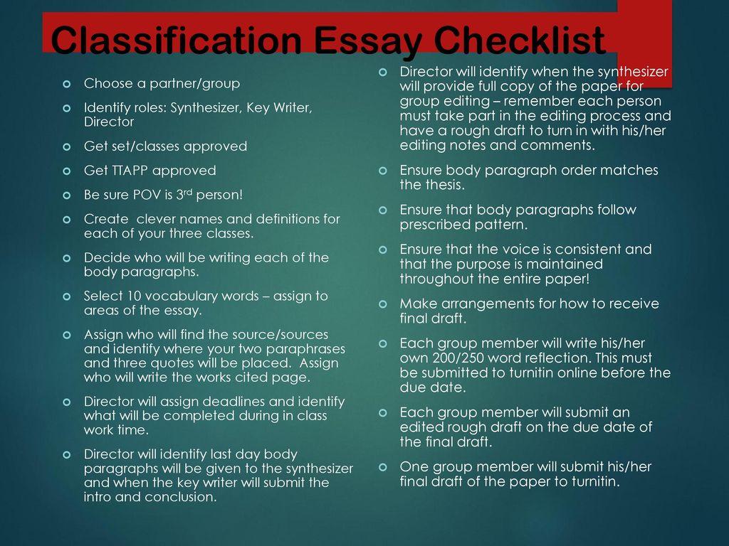 final draft essay checklist