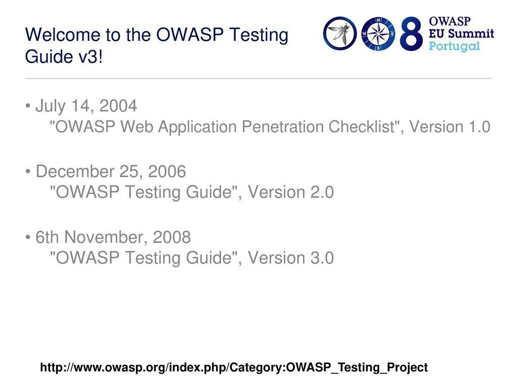 OWASP Testing Guide V3 Matteo Meucci OWASP Testing Guide Lead  - ppt