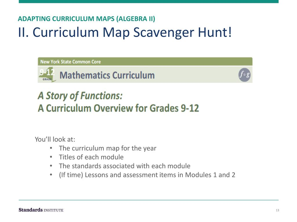 Adapting Curriculum Maps & Intro to Module 1 Algebra II