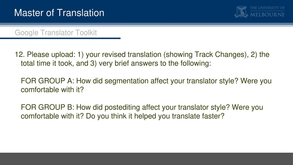 Master of Translation An introduction to post-editing - ppt