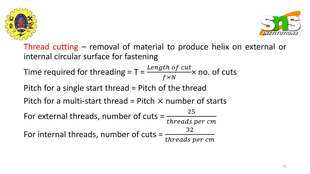 Calculation of Machining Time for Drilling Operations - ppt