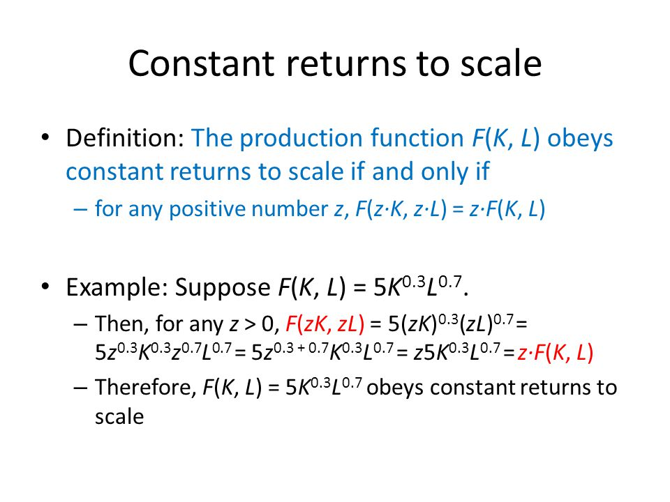 constant returns to scale definition