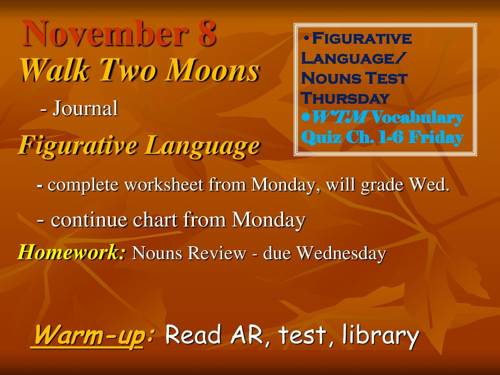 Worksheets Walk Two Moons Worksheets november 7 walk two moons figurative language ppt download 8 language