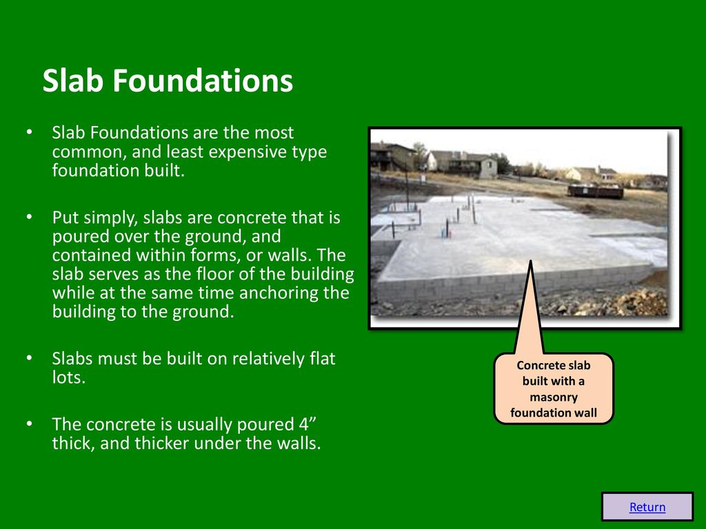Foundations Slab & Crawl Foundations - ppt download