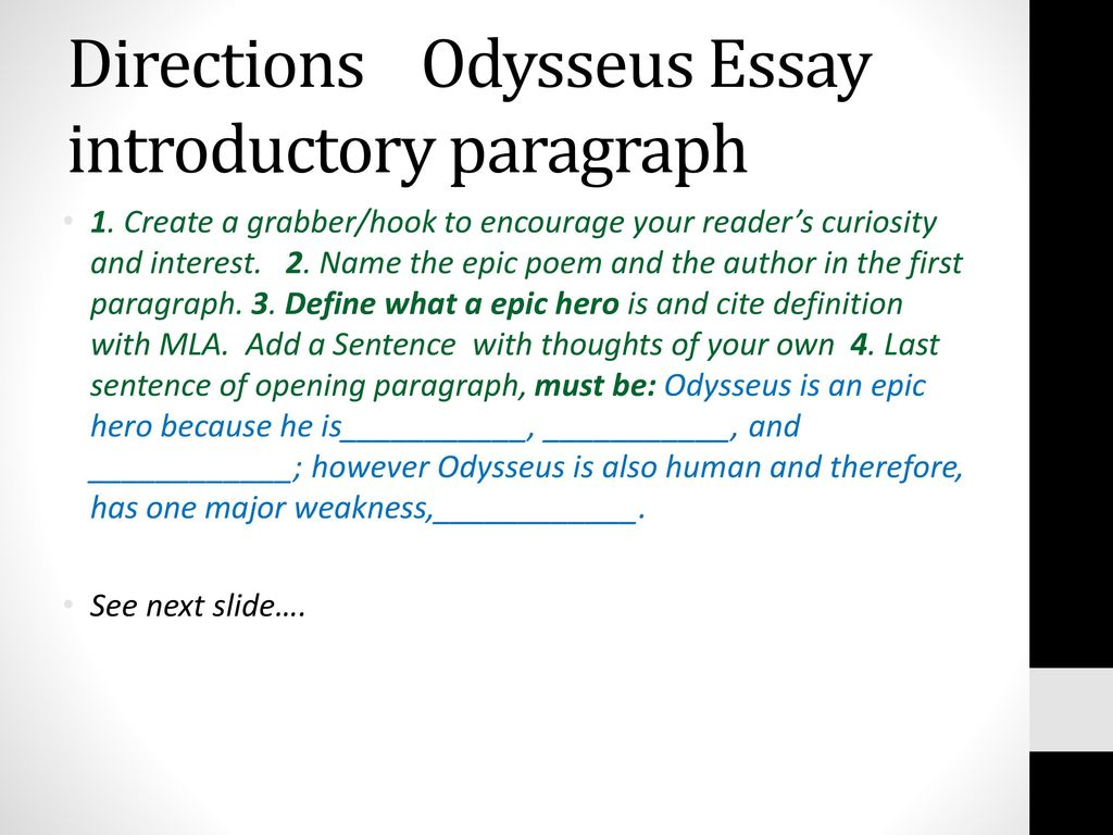 Science And Society Essay Directions Odysseus Essay Introductory Paragraph Interesting Persuasive Essay Topics For High School Students also College Essay Paper Format Week      English  A November  Ppt Download Essays Topics For High School Students