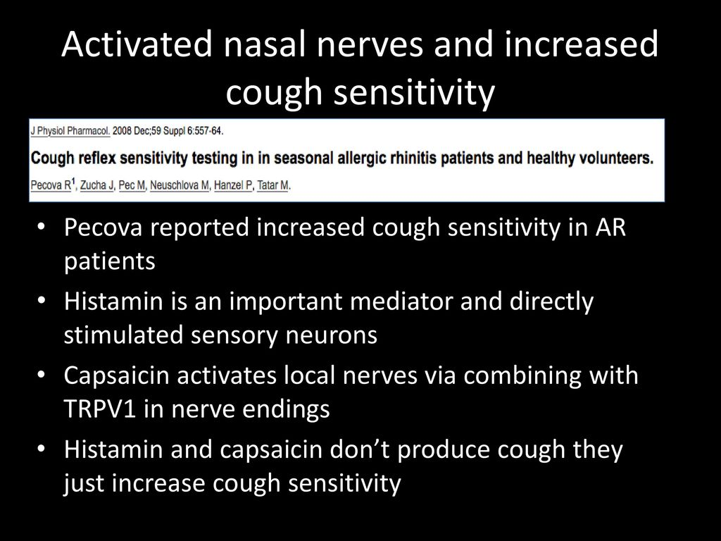 Activated nasal nerves and increased cough sensitivity