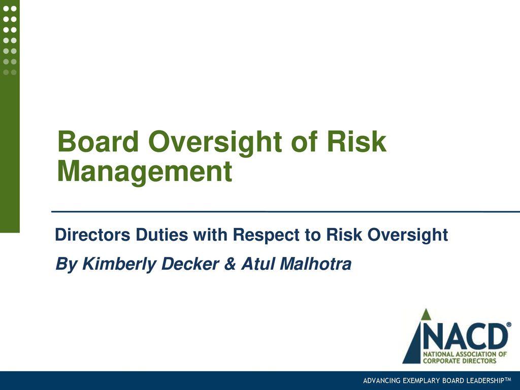 Board Oversight of Risk Management - ppt download