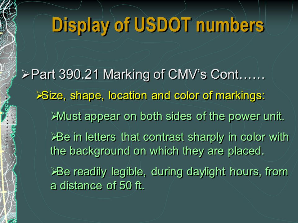 Display of USDOT numbers