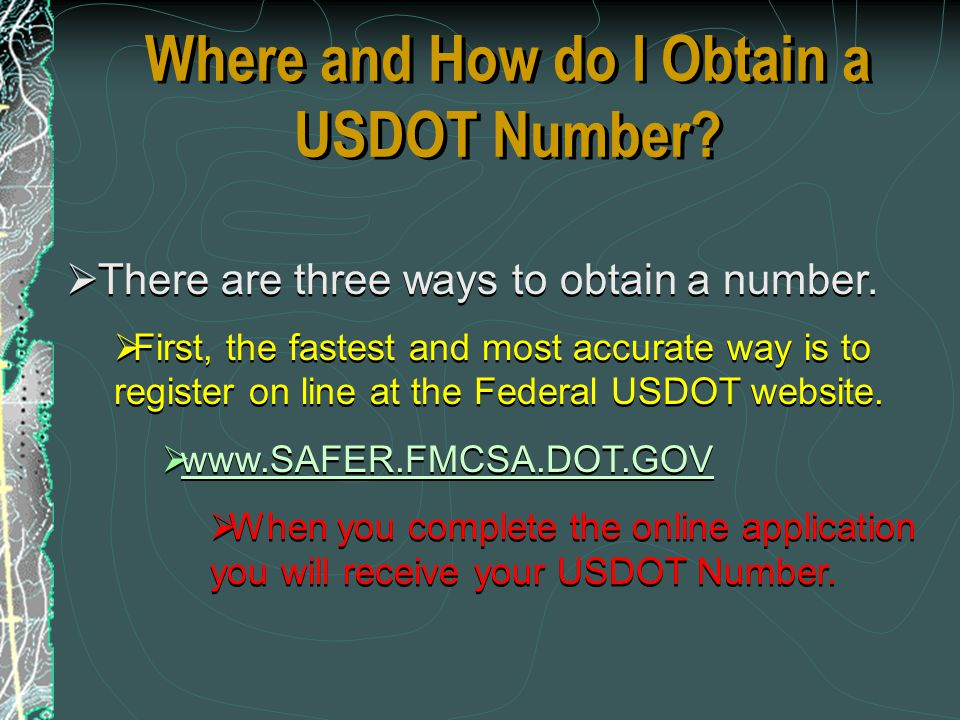 Where and How do I Obtain a USDOT Number