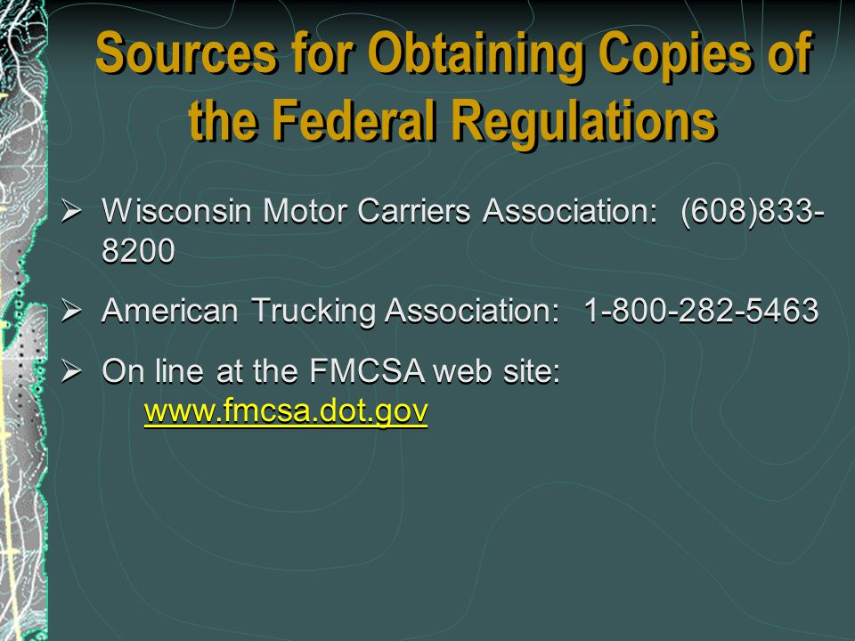 Sources for Obtaining Copies of the Federal Regulations