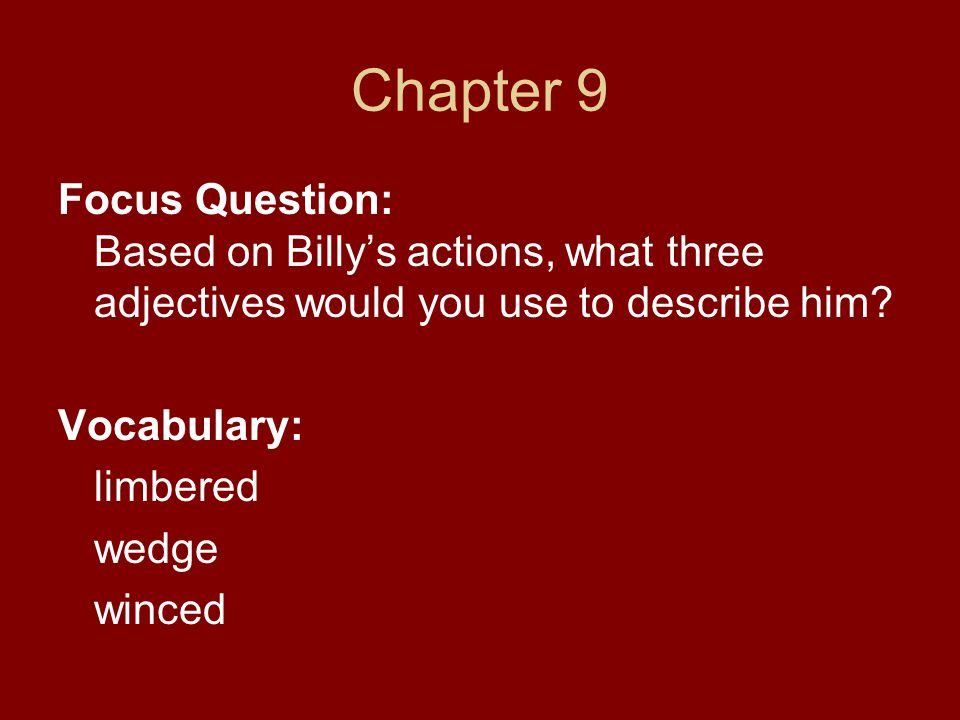 Chapter 9 Focus Question: Based on Billy's actions, what three adjectives would you use to describe him
