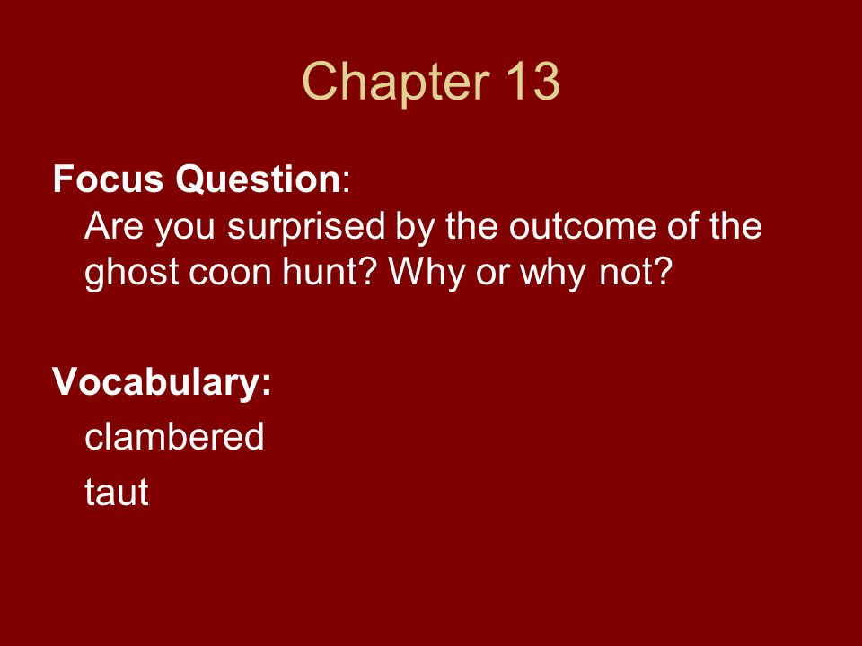 Chapter 13 Focus Question: Are you surprised by the outcome of the ghost coon hunt Why or why not