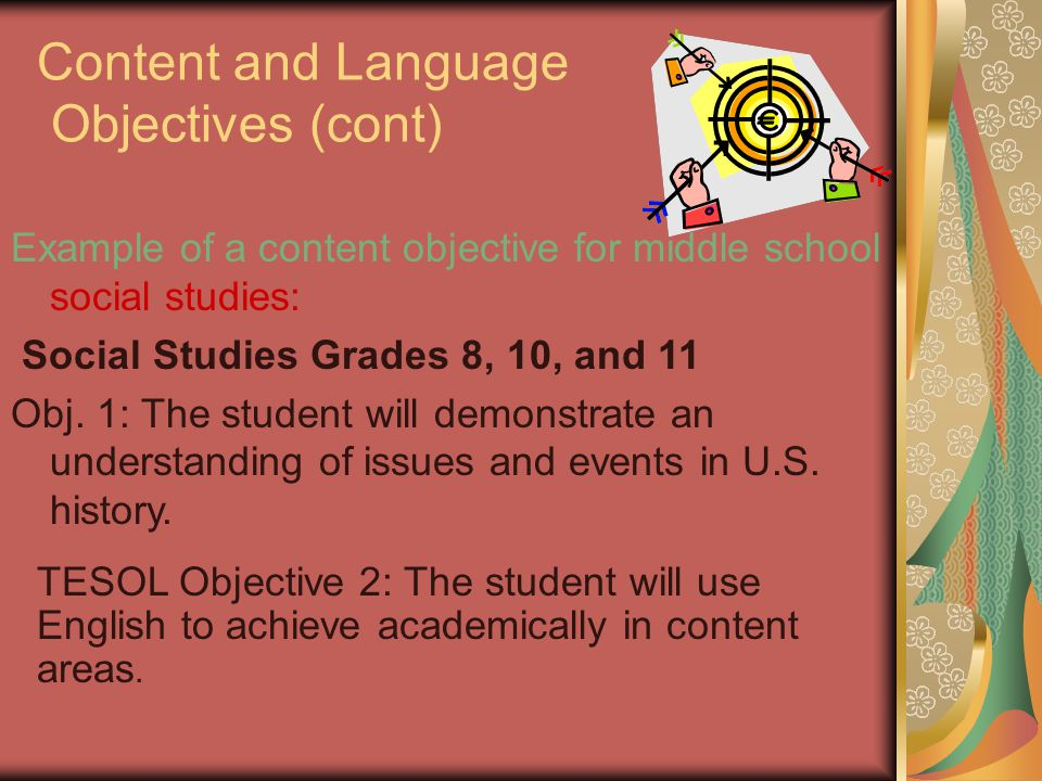 Content and Language Objectives (cont)