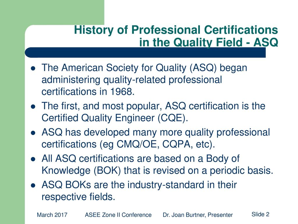 Asq Certified Quality Engineer Certification Professional Summary