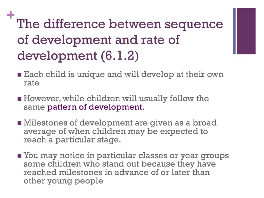 rate and sequence of development