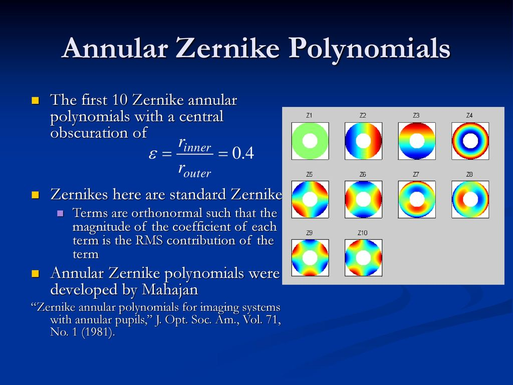 Structure Function Analysis of Annular Zernike Polynomials