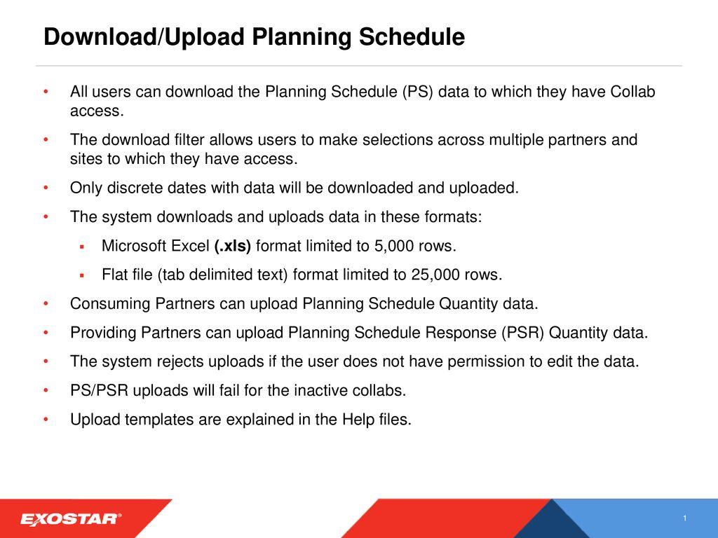 Download/Upload Planning Schedule - ppt download