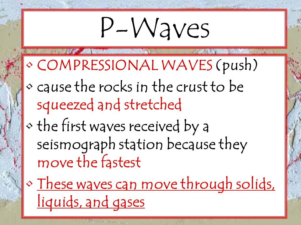 P-Waves COMPRESSIONAL WAVES (push)