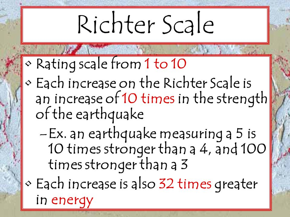 Richter Scale Rating scale from 1 to 10