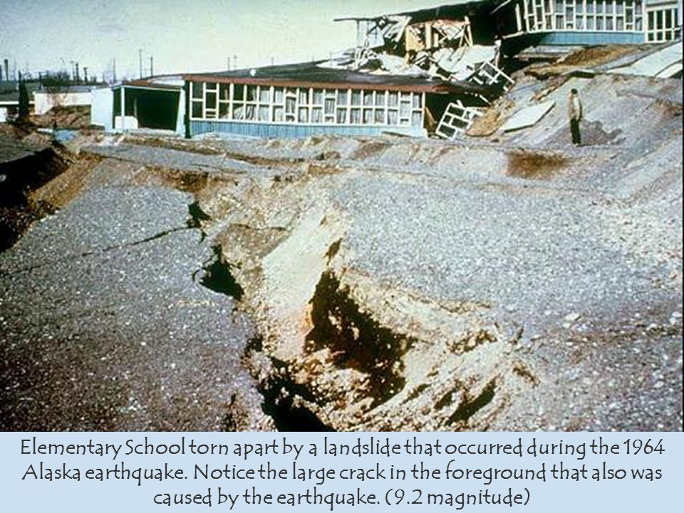Elementary School torn apart by a landslide that occurred during the 1964 Alaska earthquake.