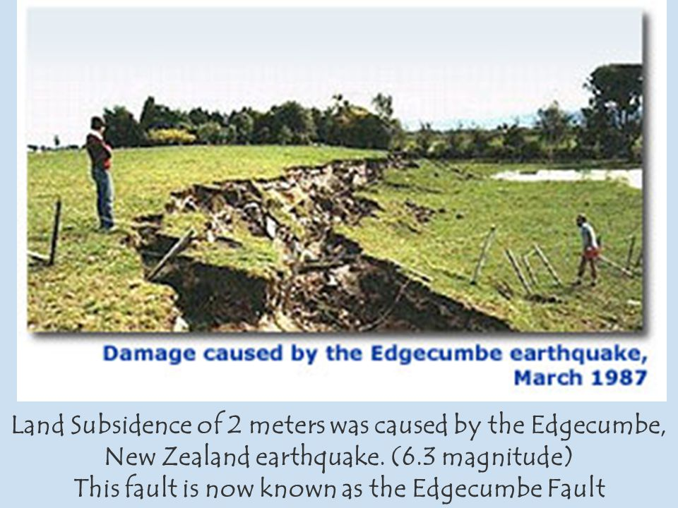 Land Subsidence of 2 meters was caused by the Edgecumbe, New Zealand earthquake.