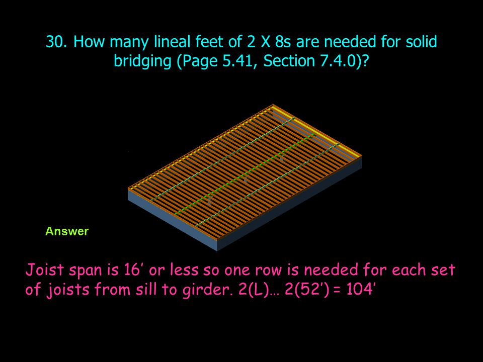 30. How many lineal feet of 2 X 8s are needed for solid bridging (Page 5.41, Section 7.4.0)