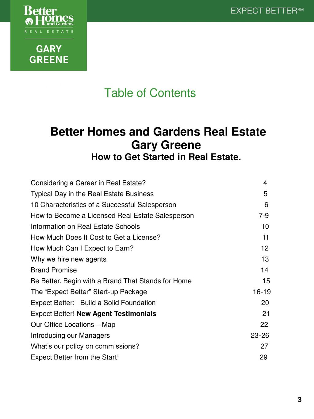 Table Of Contents Better Homes And Gardens Real Estate Gary Greene How To  Get Started In