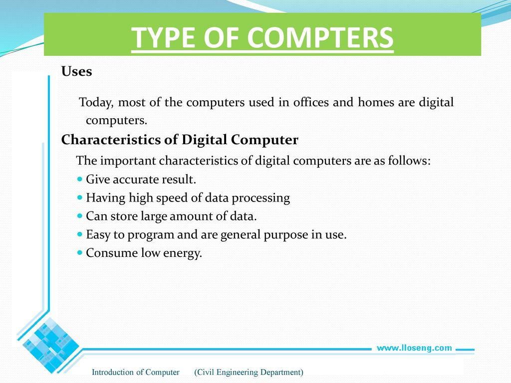 characteristics of digital computer