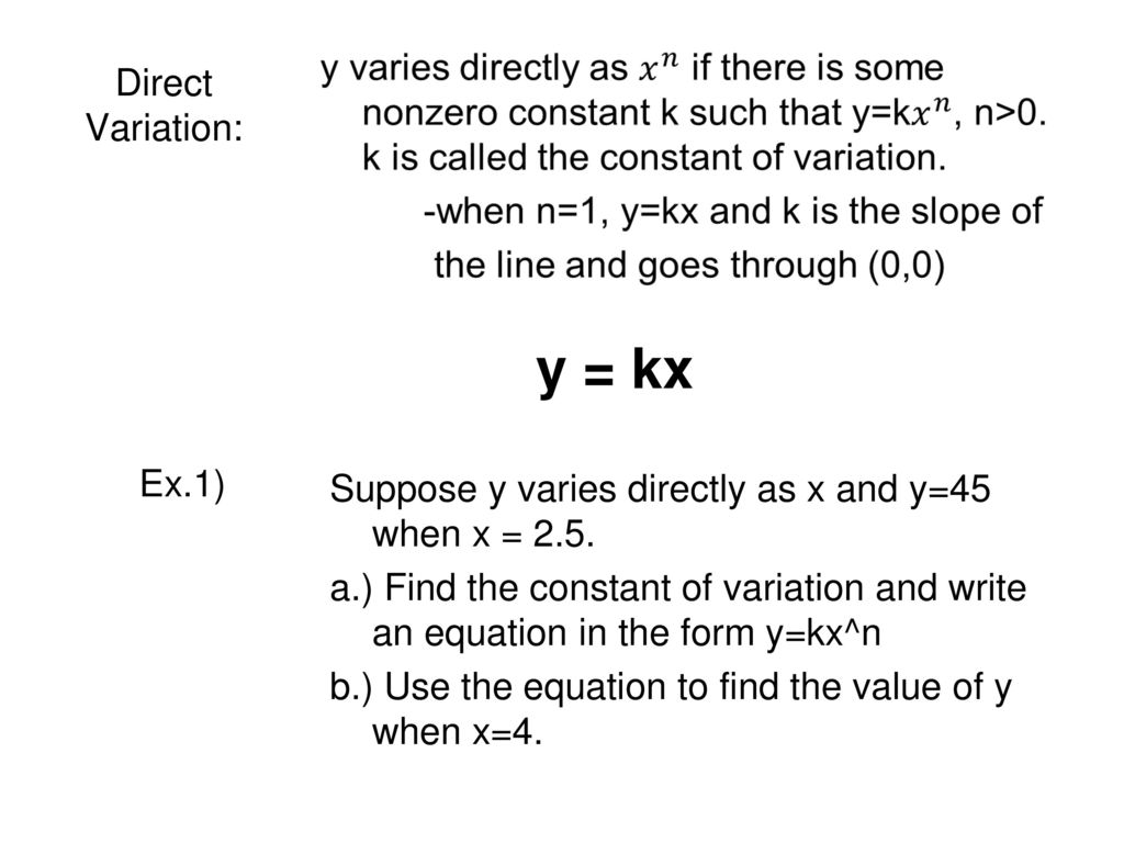 3.8 direct, inverse, and joint variation - ppt download