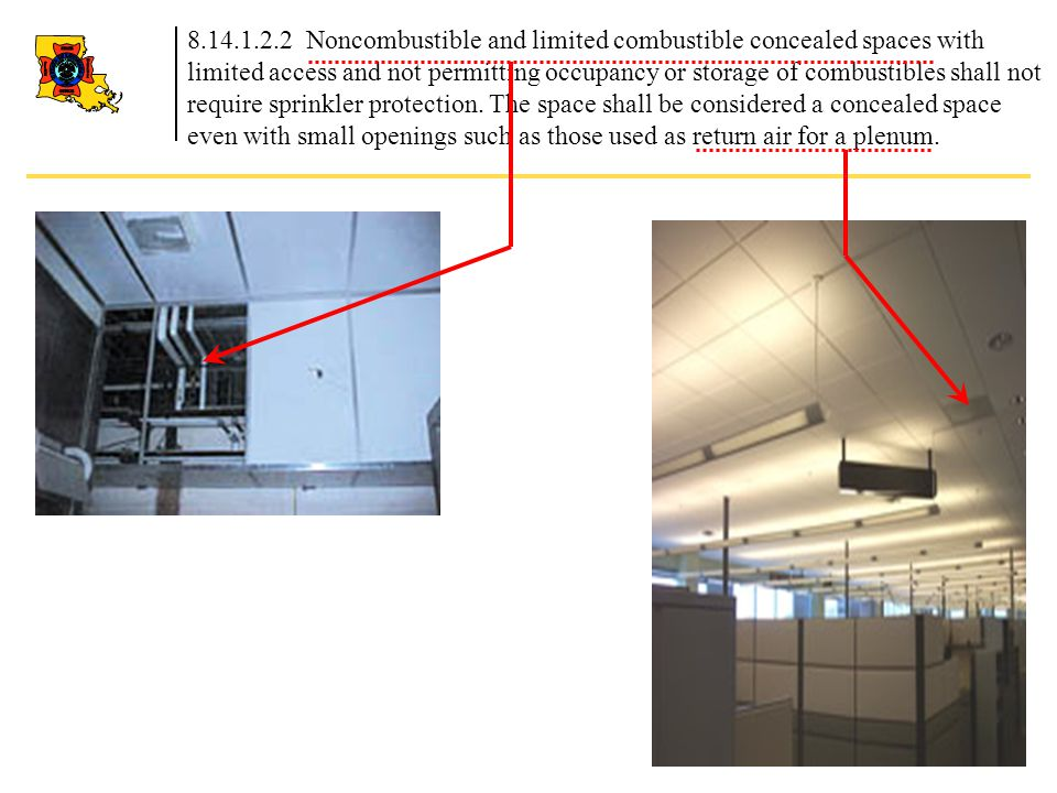 8.14.1.2.2 Noncombustible and limited combustible concealed spaces with limited access and not permitting occupancy or storage of combustibles shall not require sprinkler protection.