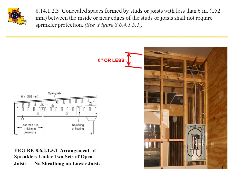 8.14.1.2.3 Concealed spaces formed by studs or joists with less than 6 in. (152 mm) between the inside or near edges of the studs or joists shall not require sprinkler protection. (See Figure 8.6.4.1.5.1.)
