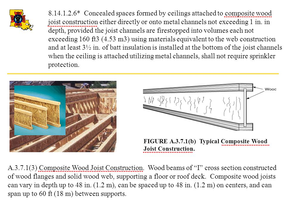 8.14.1.2.6* Concealed spaces formed by ceilings attached to composite wood joist construction either directly or onto metal channels not exceeding 1 in. in depth, provided the joist channels are firestopped into volumes each not exceeding 160 ft3 (4.53 m3) using materials equivalent to the web construction and at least 3½ in. of batt insulation is installed at the bottom of the joist channels when the ceiling is attached utilizing metal channels, shall not require sprinkler protection.