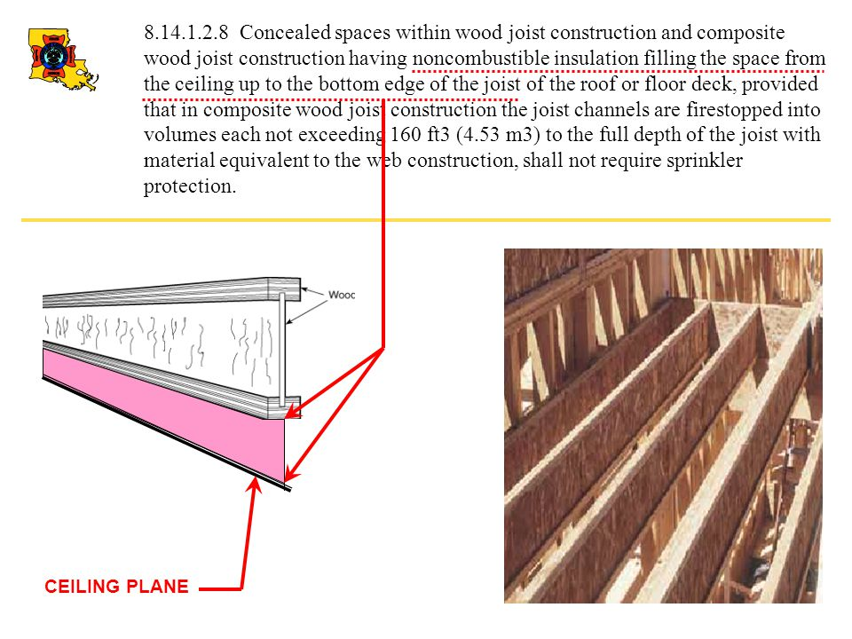 8.14.1.2.8 Concealed spaces within wood joist construction and composite wood joist construction having noncombustible insulation filling the space from the ceiling up to the bottom edge of the joist of the roof or floor deck, provided that in composite wood joist construction the joist channels are firestopped into volumes each not exceeding 160 ft3 (4.53 m3) to the full depth of the joist with material equivalent to the web construction, shall not require sprinkler protection.