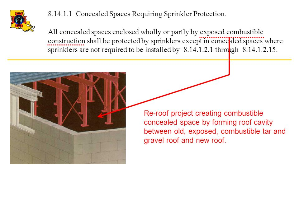8.14.1.1 Concealed Spaces Requiring Sprinkler Protection.