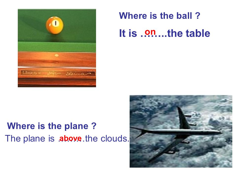 It is ……..the table Where is the ball on Where is the plane