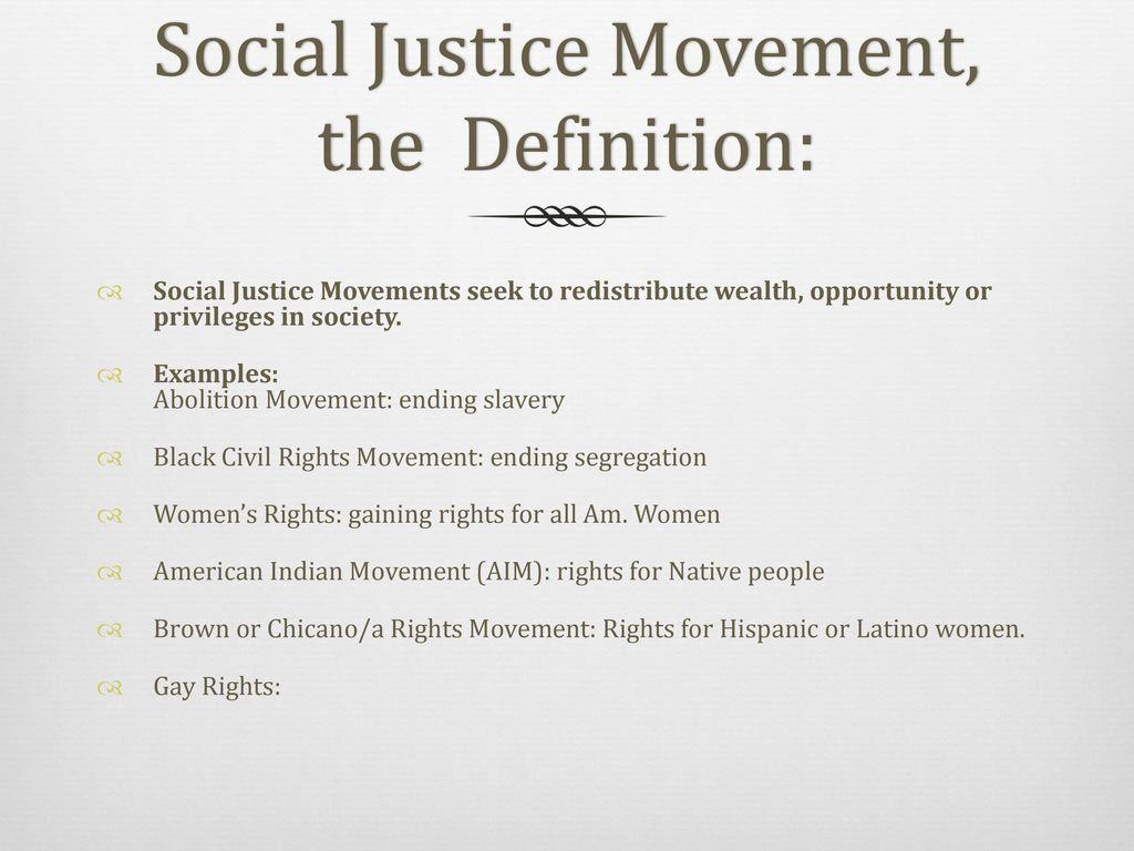 twentieth century social justice movements - ppt download